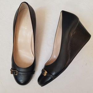 COLE HAAN Black Genuine Leather Wedge Heels